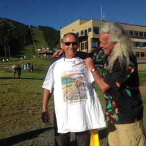 John Duncan shows off a Baybrook t-shirt presented by MLHS member Gordon Olsen